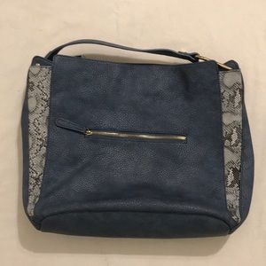 URBAN EXPRESSIONS GORGEOUS BLUE LEATHER LARGE TOTE